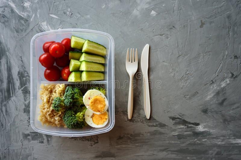 Rectángulo de almuerzo vegetariano sano imagen de archivo libre de regalías
