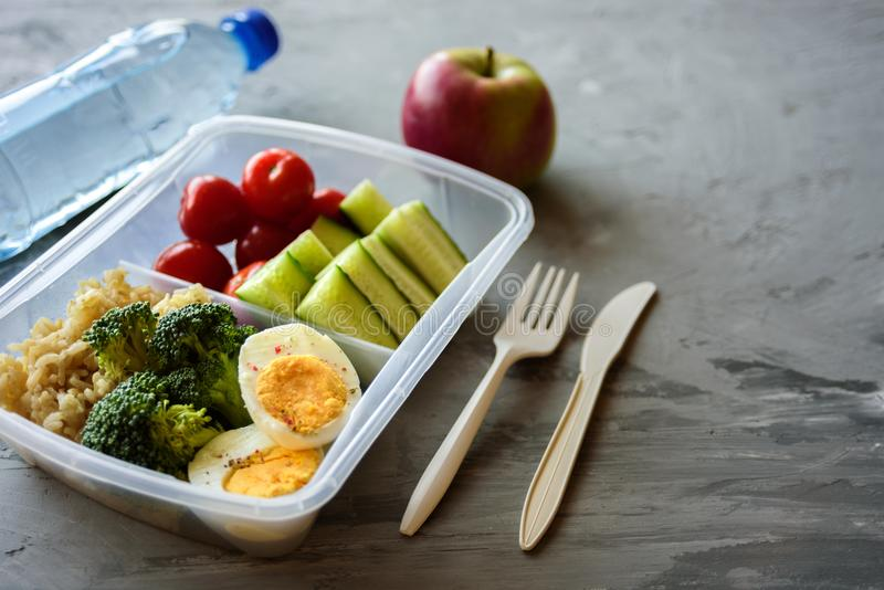 Rectángulo de almuerzo vegetariano sano fotografía de archivo libre de regalías