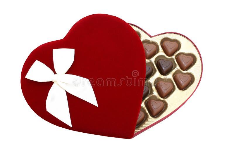 Rectángulo de chocolates en forma de corazón con el camino de recortes (imagen 8.2mp) imagenes de archivo