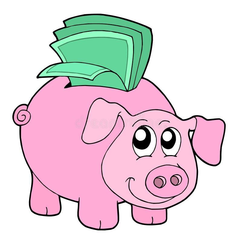 Rectángulo de dinero del cerdo ilustración del vector