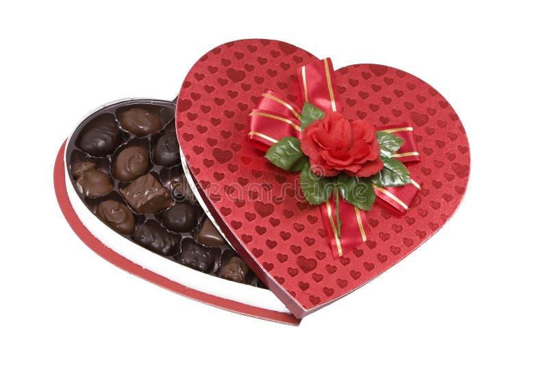 Rectángulo de los chocolates de las tarjetas del día de San Valentín foto de archivo