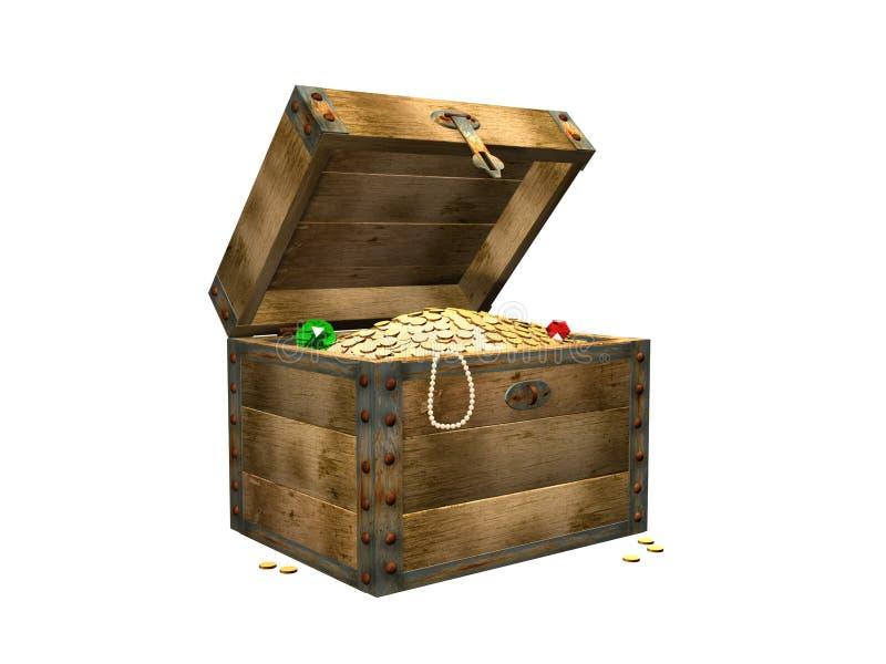 Rectángulo de madera con los tesoros. 3d libre illustration