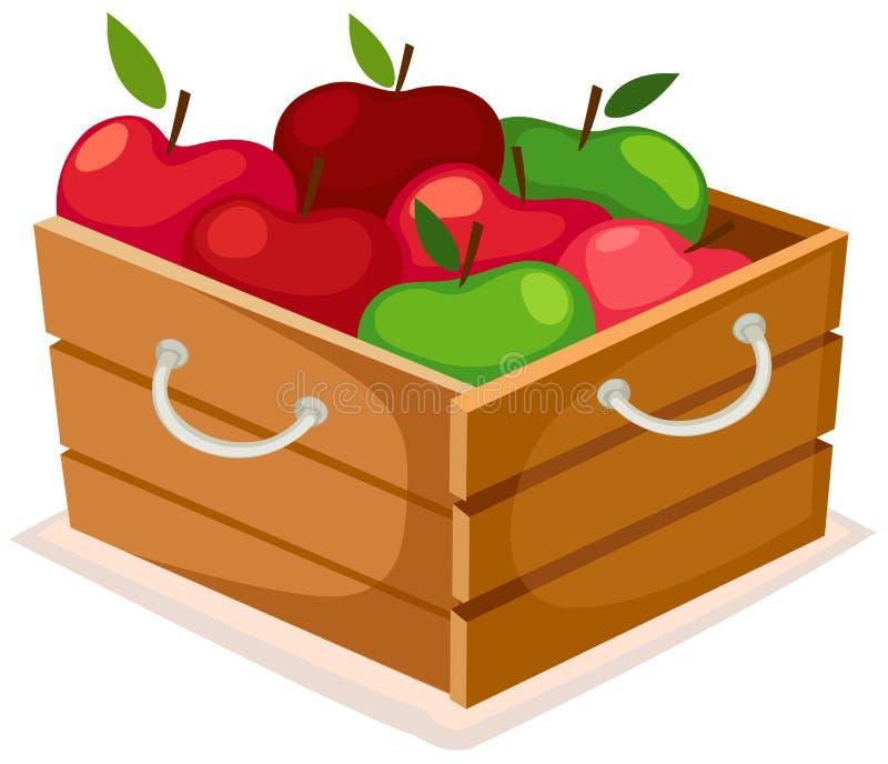 Rectángulo de madera de manzanas ilustración del vector
