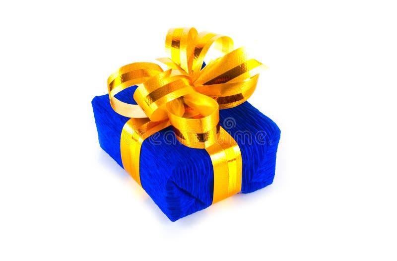 Rectángulo de regalo azul imagen de archivo