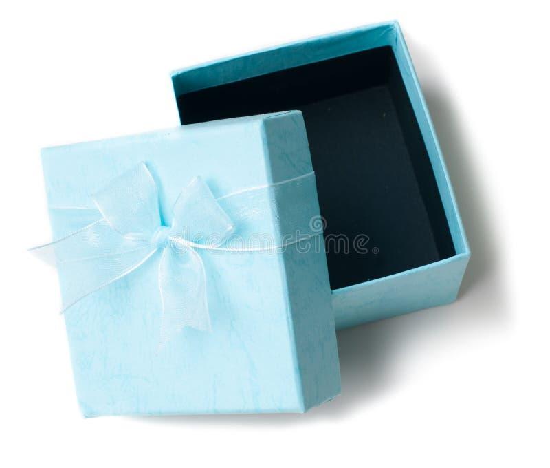 Rectángulo de regalo azul vacío abierto aislado foto de archivo