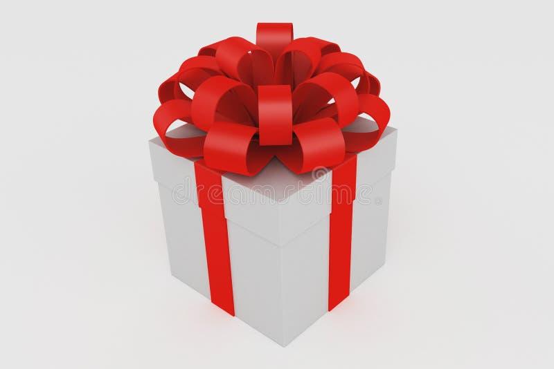Rectángulo de regalo blanco con el arqueamiento rojo de la cinta ilustración del vector