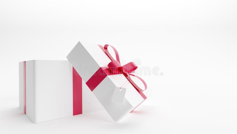 Rectángulo de regalo blanco con la cinta roja en el fondo blanco imagen de archivo libre de regalías