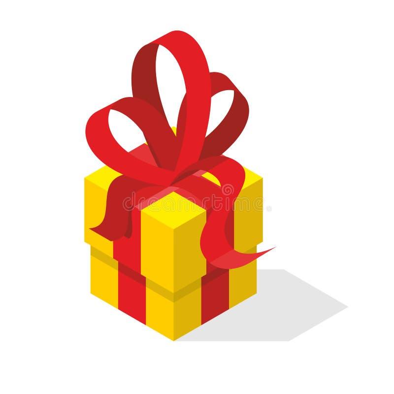Rectángulo de regalo con el arqueamiento Caja y papeleo amarillos ilustración del vector