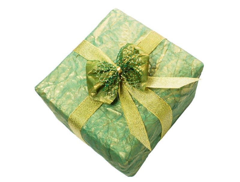 Rectángulo de regalo con la cinta del oro fotografía de archivo libre de regalías