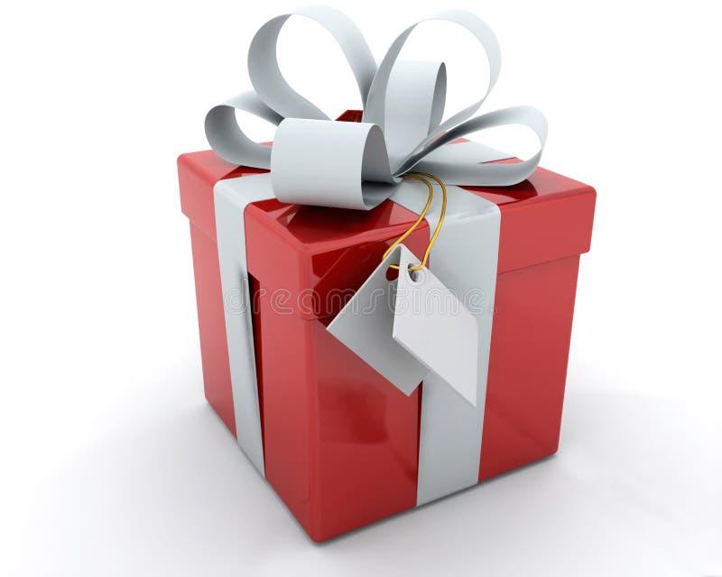 Rectángulo de regalo con la cinta y la etiqueta stock de ilustración