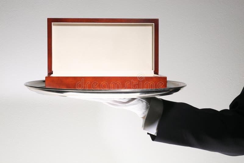 Rectángulo de regalo de madera de lujo imagenes de archivo
