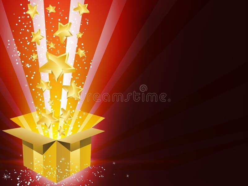 Rectángulo de regalo de oro de la Navidad con las estrellas stock de ilustración