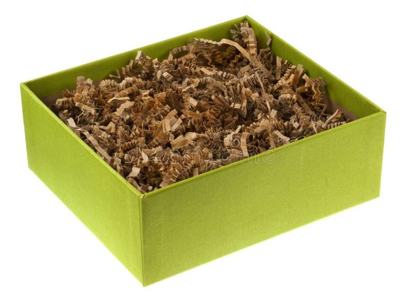 Rectángulo de regalo ecológico con el papel shreded reciclado imágenes de archivo libres de regalías
