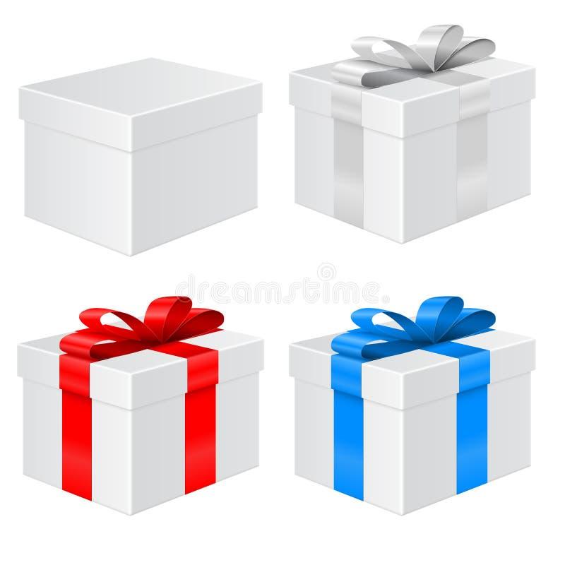 Rectángulo de regalo Fije con las cintas coloreadas ilustración del vector