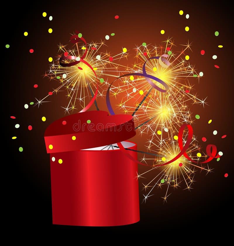 rectángulo de regalo rojo con el sparkler ilustración del vector