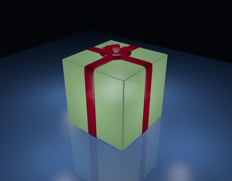 Rectángulo de regalo verde envuelto en cinta roja ilustración del vector