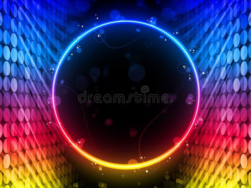 Rectángulo del círculo del disco en fondo negro ilustración del vector
