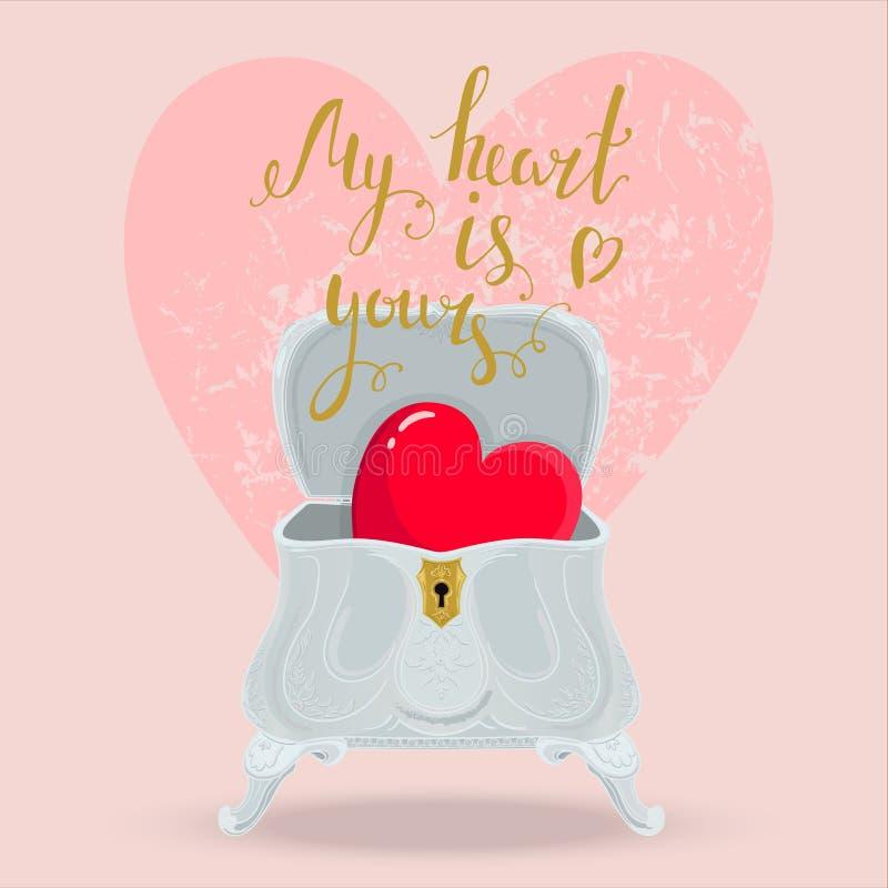 Rectángulo del corazón stock de ilustración
