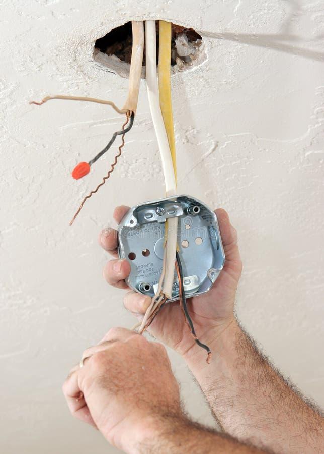 Rectángulo del techo del cableado del electricista fotografía de archivo