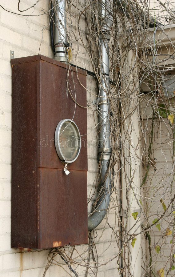 Rectángulo eléctrico casero del contador foto de archivo