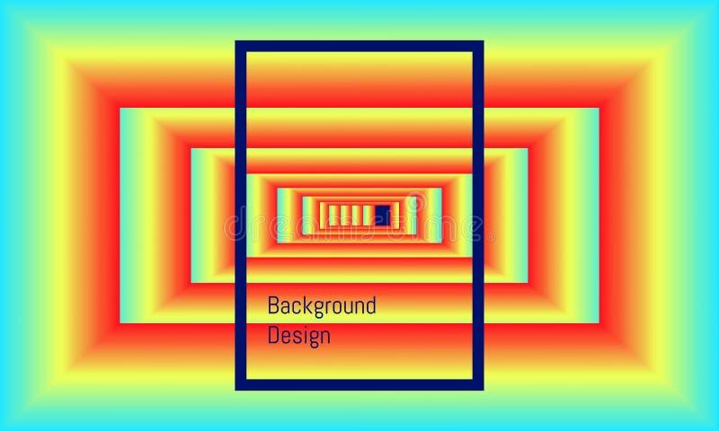 Rectángulo grande abstracto a la pequeña alineación de centro como el tubo sin soldadura del lazo dise?o hermoso colorido del fon ilustración del vector