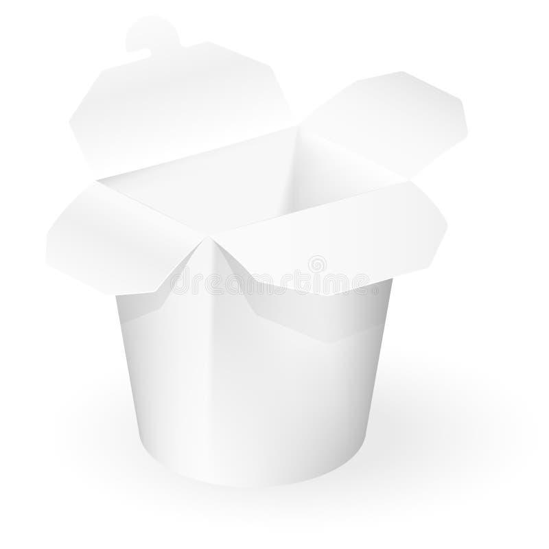 Rectángulo para llevar del restaurante chino Mofa encima de la plantilla lista para su diseño Rueda dentada Producto ilustración del vector