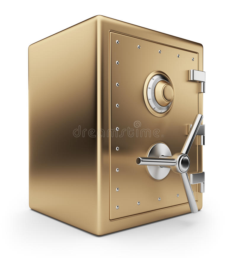 Rectángulo seguro de oro 3D. Cámara acorazada de batería. Aislado ilustración del vector