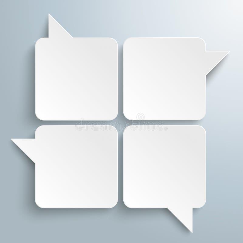 Rectángulo Speechbubbles de 4 blancos ilustración del vector
