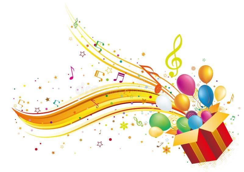 rectángulo y música de regalo de vacaciones stock de ilustración
