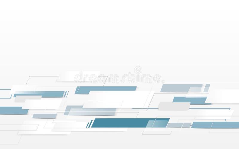 Rectángulos blancos y azules abstractos, líneas futuristas y fondo del concepto de la tecnología stock de ilustración