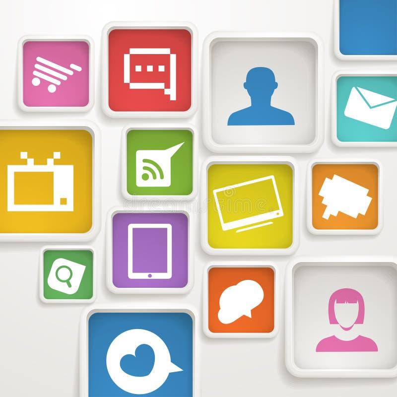 Rectángulos de color con los iconos de los media libre illustration