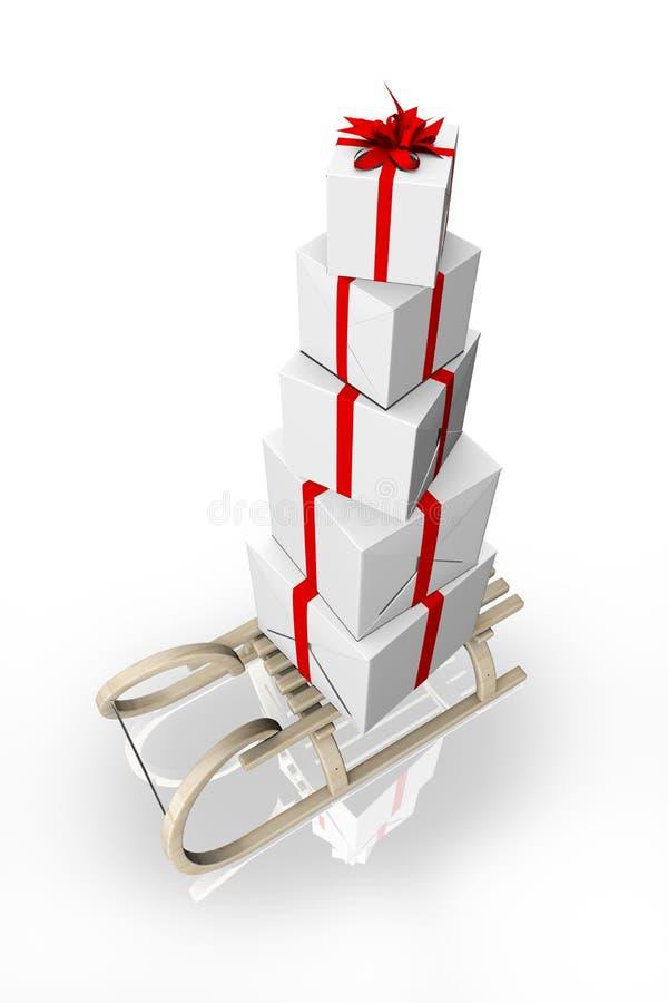 Rectángulos de la pirámide de regalos en el trineo libre illustration
