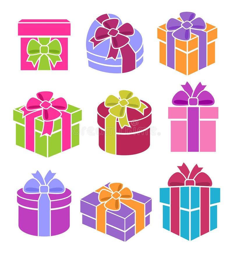 Rectángulos de regalo coloridos fijados Vector ilustración del vector