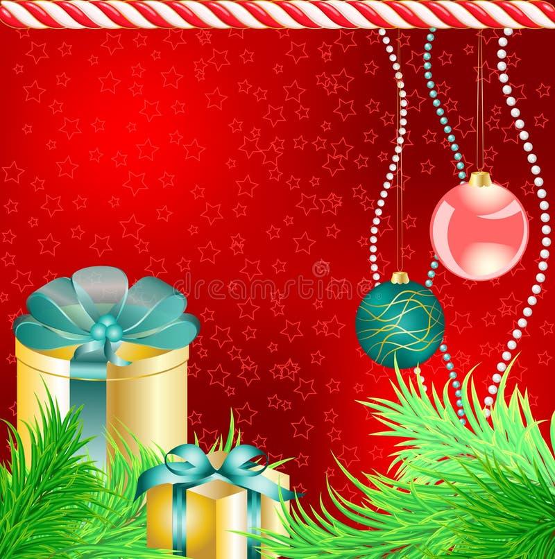 Rectángulos de regalo de Chrstmas con el árbol y las bolas ilustración del vector