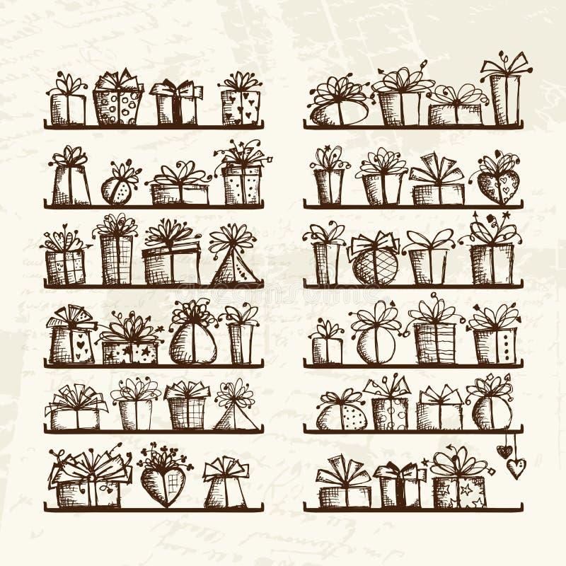 Rectángulos de regalo en los estantes, gráfico de bosquejo para su libre illustration