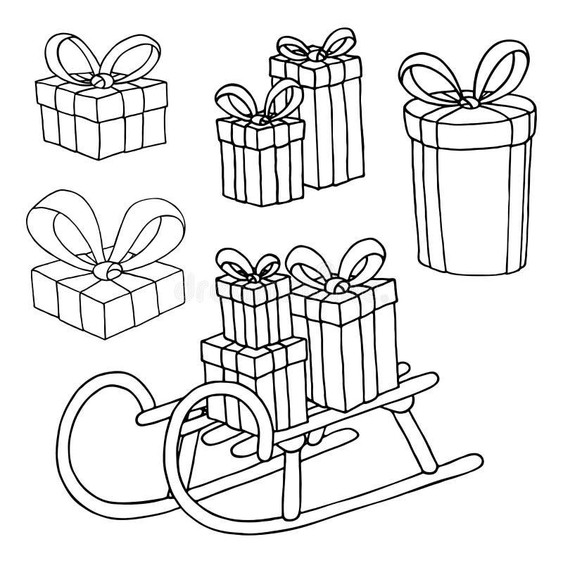 Rectángulos de regalo fijados stock de ilustración