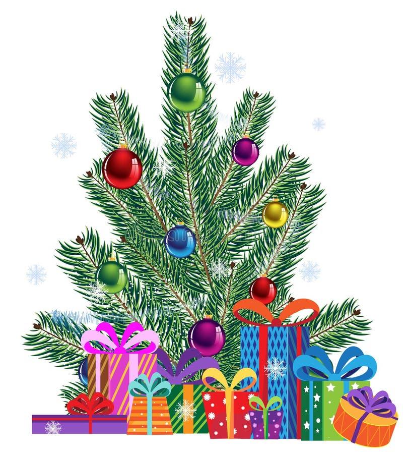 Rectángulos del árbol de navidad y de regalo ilustración del vector
