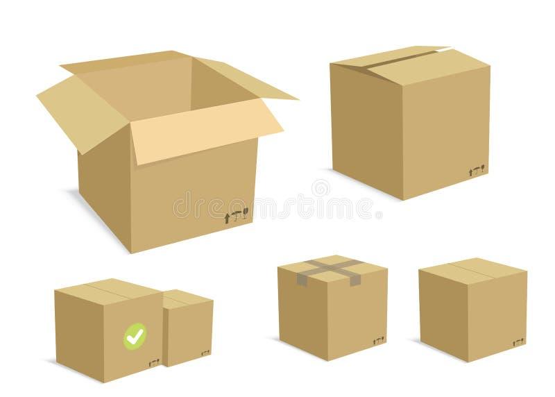 Rectángulos del cartón fijados stock de ilustración
