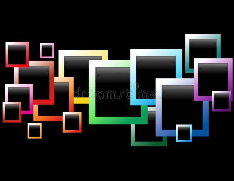 Rectángulos flotantes negros del arco iris ilustración del vector