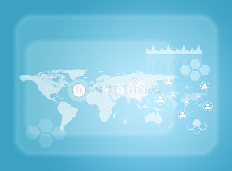 Rectángulos transparentes, mapa del mundo, red y ilustración del vector