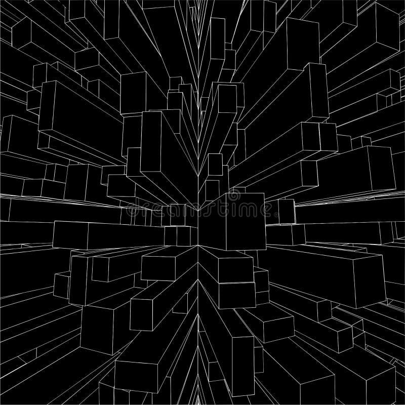 Rectángulos urbanos abstractos de la ciudad del vector 05 del cubo stock de ilustración