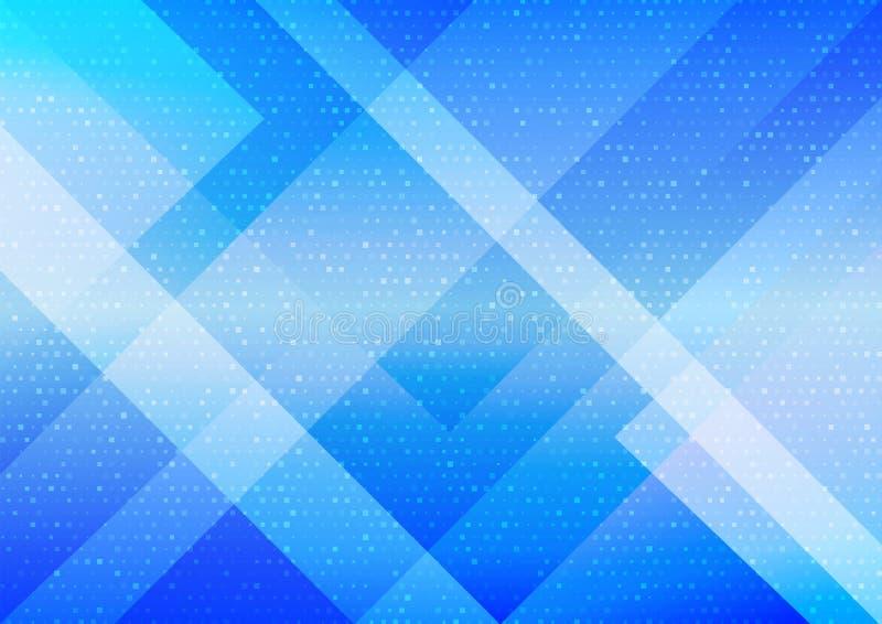 Rectángulos y tono medio Dots Pattern en fondo azul de la pendiente ilustración del vector
