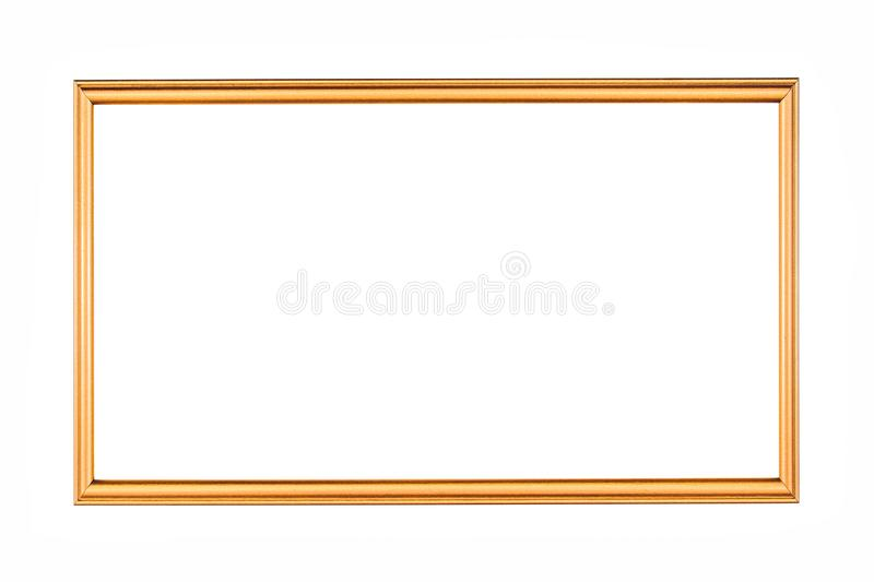 Rectangle antique gold frame isolated on the white background. Rectangle gold frame isolated. Golden frame isolated stock photography