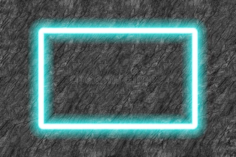 Rectangle blue neon tube frame on black stone background. Abstract architecture art backdrop banner beautiful billboard blank block bright building cement royalty free illustration