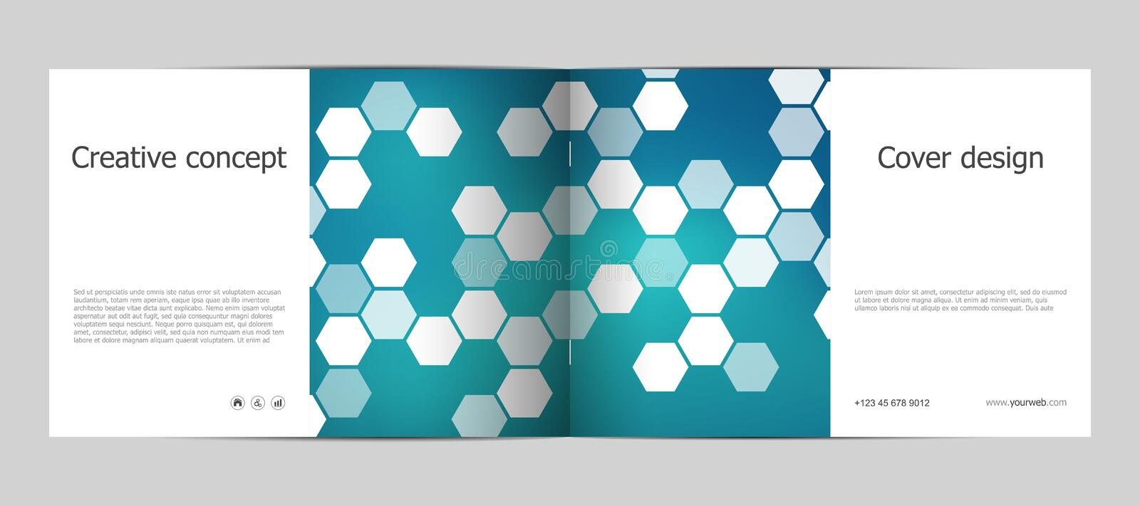 Rectangle brochure template layout, cover, annual report, magazine in A4 size with hexagon background. Vector vector illustration