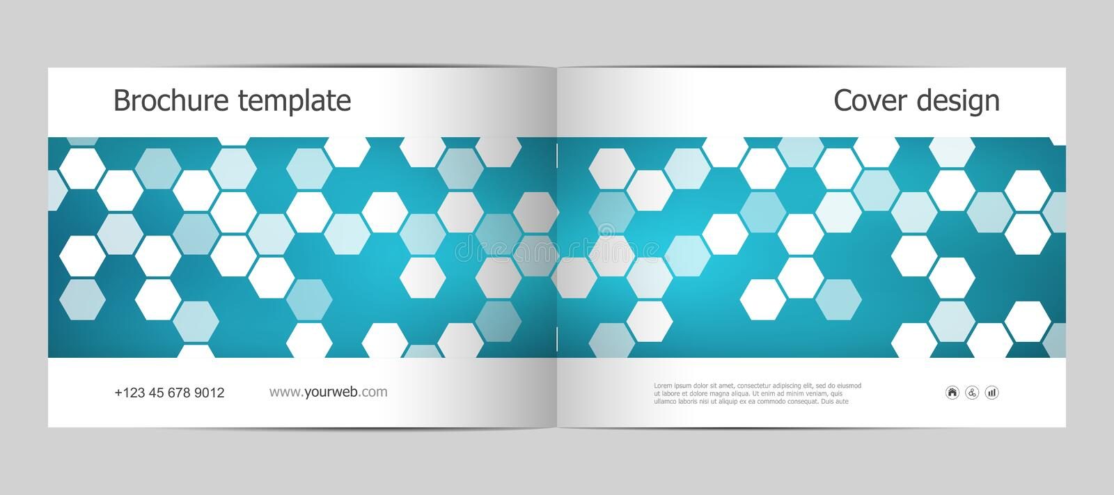 Rectangle brochure template layout, cover, annual report, magazine in A4 size with hexagon background. Vector stock illustration