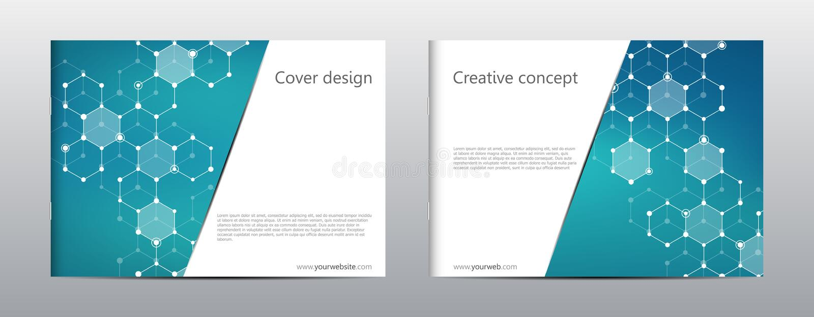 Rectangle brochure template layout, cover, annual report, magazine in A4 size with hexagonal molecule structure stock illustration