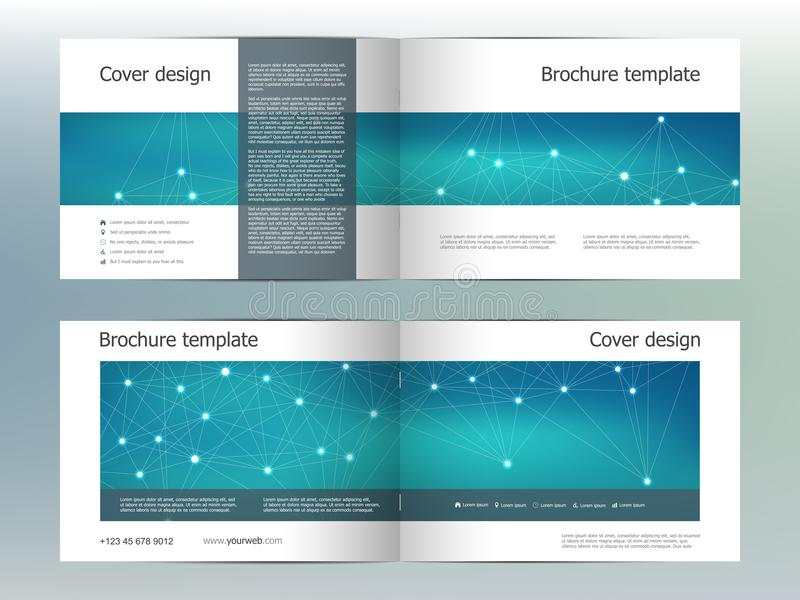 Rectangle brochure template layout, cover, annual report, magazine in A4 size with molecular background. Vector vector illustration