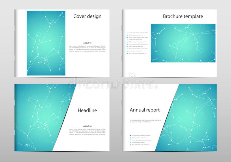 Rectangle brochure template layout, cover, annual report, magazine in A4 size with molecule dna structure. Geometric vector illustration