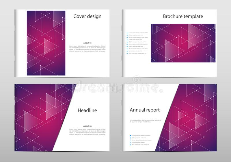 Rectangle brochure template layout, cover, annual report, magazine in A4 size with triangle graphics. Geometric abstract royalty free illustration